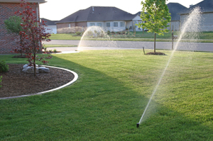 San Jose suburban sprinkler system in action
