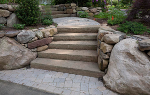 stone step installation by our masonry team